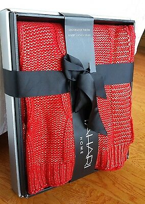 Tahari Home Red Cable Knit Metallic Gold Accent Decorative Throw Blanket 50x60