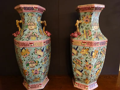 """A Pair Of Antique Chinese Hexagonal Vases 23 1/2"""" Tall"""