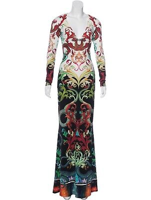 Spectacular, Sold Out, Nwt $4,645 Roberto Cavalli Jersey Maxi Dress