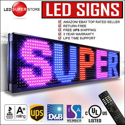 "Led Super Store: 3col/rbp/ir 36x118"" Programmable Scrolling Emc Display Msg Sign"