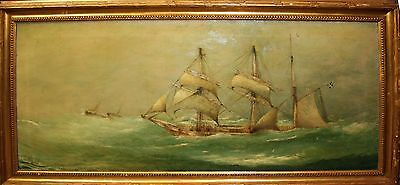 Boat Sailing  In A Storm. Oil On Canvas. Signed O.d. Scullerd. Europe. Xix.
