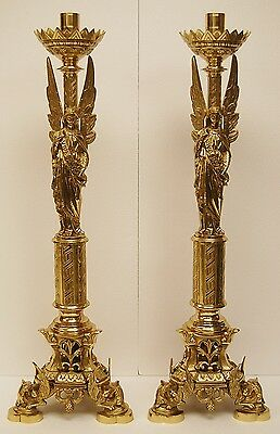 "30"" Amazing Pair Of Brass Angel Altar Candle Sticks -#166-  (church Chalice Co.)"