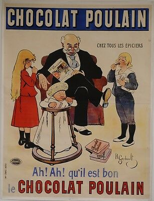 """Original Vintage French Oversize 2 Parts Poster For """"chocolat Poulain"""" By H. Ger"""