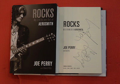 Joe Perry Signed Autographed Rocks Book With Rare Aerosmith Wings Sketch B