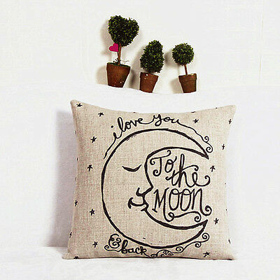 New Cotton Linen Square Decorative Throw Pillow Case Cushion Cover Moon Pattern