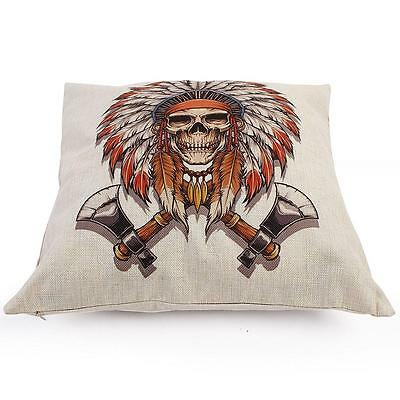 Funny Indian Skull Pattern Cotton Linen Throw Pillow Case Cushion Cover