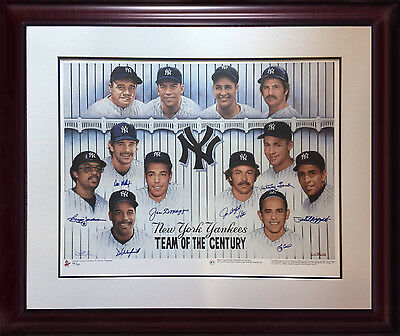 Ny Yankee Legends Signed 27x36 Litho Framed 9 Auto Joe Dimaggio Berra Coa  /139