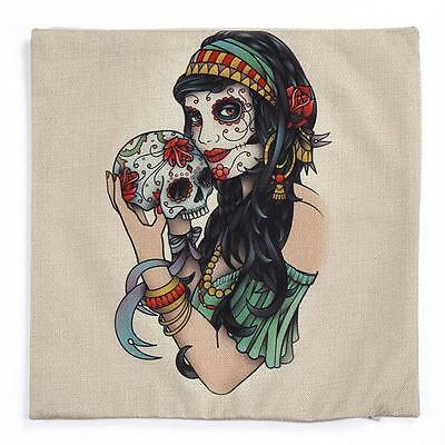 Sofa Bed Home Decor Linen Cotton Skull Beauty Pattern Cushion Throw Pillow Case