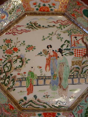 Large Chinese For Export Famille Vertè-rose Octagonal Deep Charger