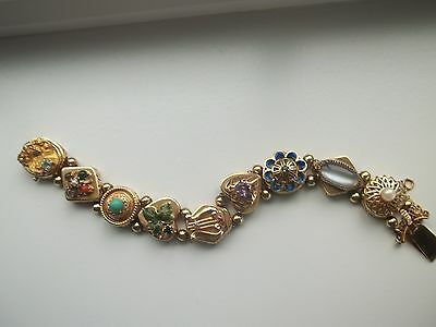Vintage 14k Yellow Gold Multi-gems Slide Bracelet 51.7 Grams