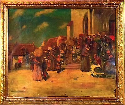 E4-055. Out Of The Cathedral Mass. Oil On Canvas. No Signature. Spain. Xix-xx