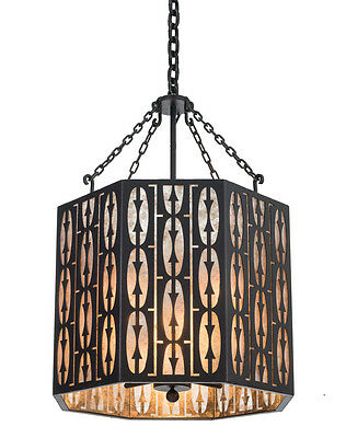 Fredericks Bordello Cut Iron Shade Hand Crafted Wrought Iron Chandelier