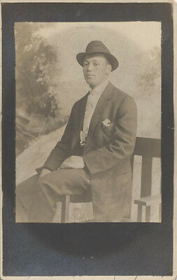 1911photo  Postcard Portrait Of Very Well-dressed African American Man