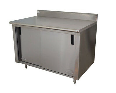 """Advance Tabco Ck-ss-246 72""""wx24""""d Stainless Steel Cabinet Base W/ Sliding Doors"""
