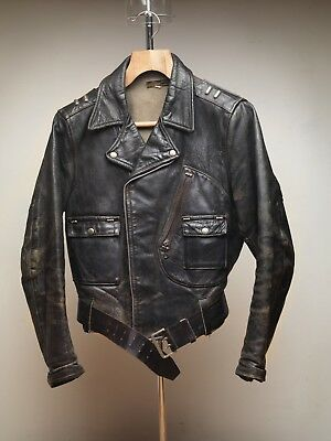 Vintage Harley Davidson Cycle Champ Horsehide Leather Jacket Biker Patina (ao)