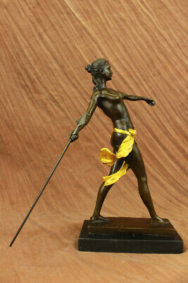 Hot Cast Gold Patina Of Diana The Huntress Art Decor Nude Woman Walking Gift