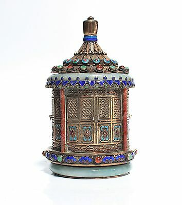 A Chinese Silver Box Inlay Multi Color Jewelry Stones And Two Jade Bangles