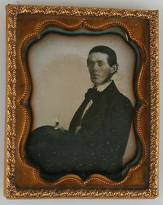 Daguerreotype,milk White.handsome Man With Hat,walking Stick,seated. 9th Plate.
