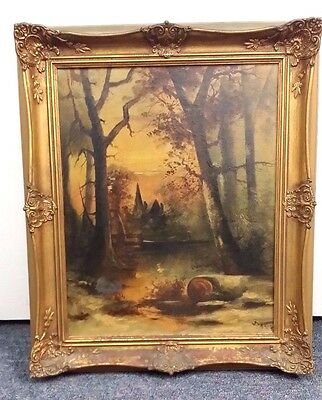 """Antique Oil On Canvas Signed """"baker"""" Country Home 21 X 25 Frame 16 X 19.5 Canvas"""
