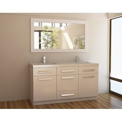 """Moscony 60"""" Double Sink Vanity Set In White"""