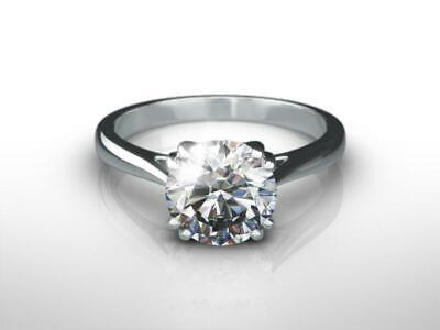Ladies Choice 1.50 Carat D Si2 Round Cut Diamond 14 K White Gold Solitaire Ring