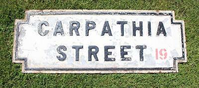 Cunard Line Rms Carpathia Liverpool Street Sign White Star Titanic Rescue Ship
