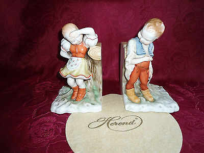 Herend Girl And Boy Pair In Folklore Dress At Tree Bookholder Figurine Porcelain