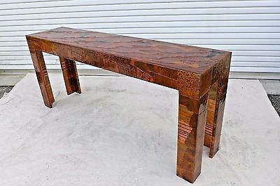 Brazilian Artist Signed Copper And Brass Patchwork Console Table Lighted 1970s