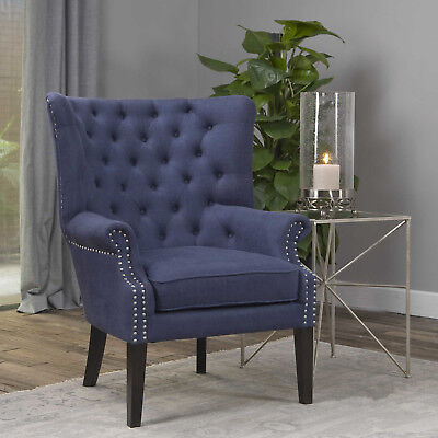 """32"""" W Adrian Accent Chair Button Tufted Deep Blue Linen Nickel Nail Heads Unique"""