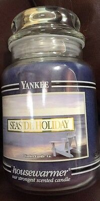 Yankee Candle Seaside Holiday Black Band Large Jar Brand New Never Burned