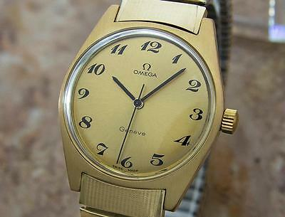 Omega Geneve Swiss Made Manual Cal 601 Mens Gold Plated 1970s Vintage Watch Mx36