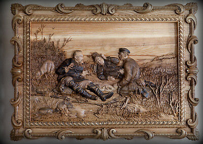 """Carved Panels, """"hunters On A Halt,"""" A Picture Of Wood, Carving."""