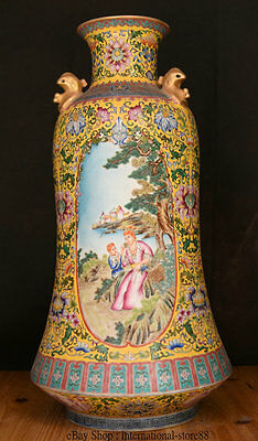 """21"""" Qianlong Marked Chinese Enamel Colour Porcelain Mother And Son 2 Bird Vase"""