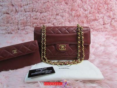 Rare Chanel Vintage Dark Red Lambskin Flap Bag With Matching Pouch