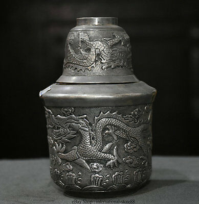 """5""""rare Chinese Pure Silver Palace Double Dragon Wine Tea Pot Flagon Warm Pot Cup"""