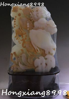 Chinese Natural Jade Carving Scaleph Jellyfish Fish Barracuda Fishes Statue