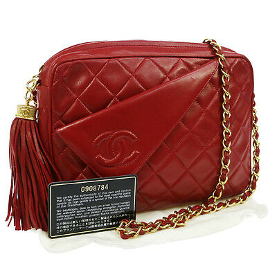 Authentic Chanel Quilted Chain Shoulder Bag Red Leather Vintage Good Ak15966