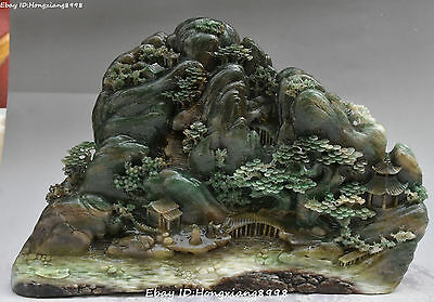 """14"""" Chinese Dushan Jade Carving Pine Tree Old Man Mountain Water Scenery Statue"""