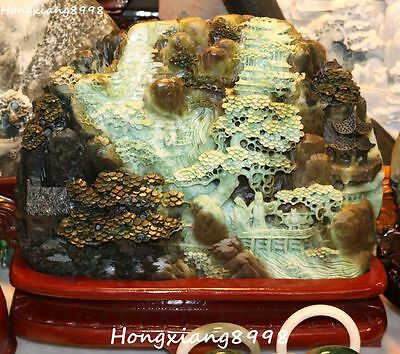 """14""""rare Chinese Natural Dushan Jade Carving Landscape Scenery Shanzi Hill Statue"""