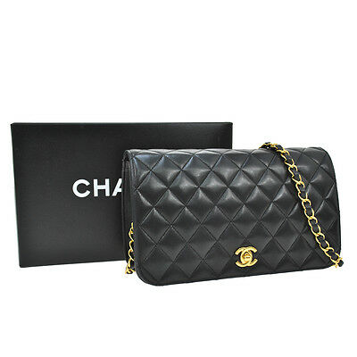 Auth Chanel Quilted Cc Logos Chain Shoulder Bag Leather Black Vintage Ak08013
