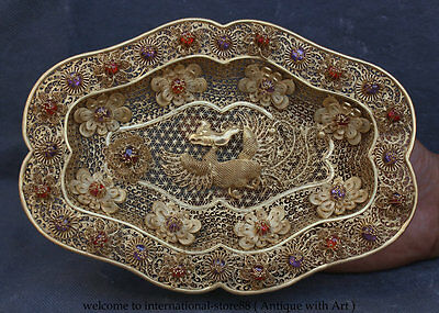 """10"""" Chinese Palace Pure Silver 24k Gold Gilt Gem Phoenix Flower Plate Tray Dish"""