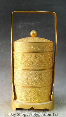 "14"" Chinese Bronze Gild Phoenix Bird Flower Wine Food Portable Hamper Box S"