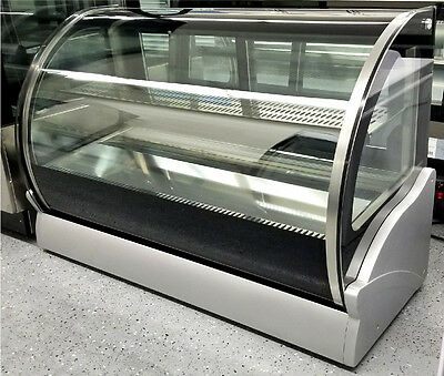 """New 48"""" Countertop Refrigerated Cake Pie Display Case Curved Glass Refrigerator"""