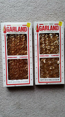 2 Boxes Of Vintage Gold Christmas Rope Twist Garland Metalized Plastic Usa