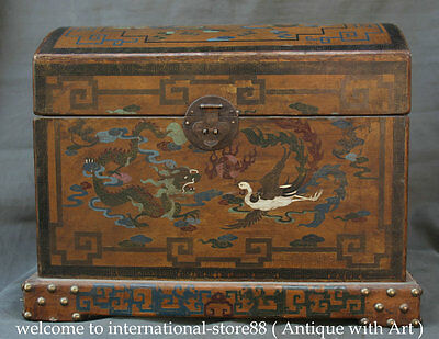 "20"" Chinese Lacquerware Wood Dragon Phoenix Handle Storage Food Jewelry Bin Box"