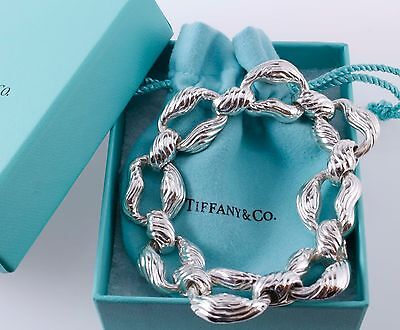 super collectible tiffany and co. silver nature wood bracelet  large 8.5 inches