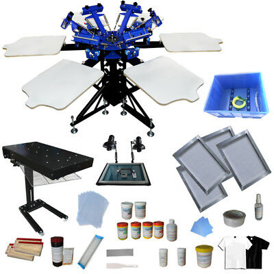 6 color 6 station screen printing press flash dryer and diy materials kit