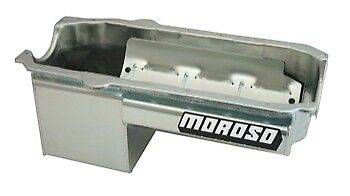 Moroso Engine Oil Pan 21017; 7.0 Quarts Clear Zinc For Chevy 262-400 Sbc