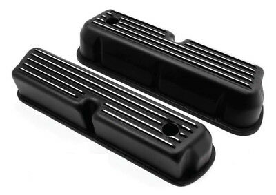 Small Block Ford Black Finned Valve Covers Pair Rocker Covers Mustang Falcon Gt