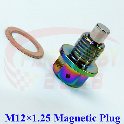 M12x1.25 Neo Chrome Engine Magnetic Oil Pan Drain Plug Bolts Crush Washer M12